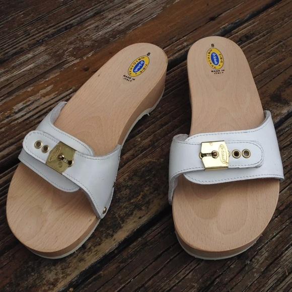 73b267af7b9d Dr. Scholl s Shoes - Vtg Dr Scholls Leather Wood Sandals Sz 8 70s 80s